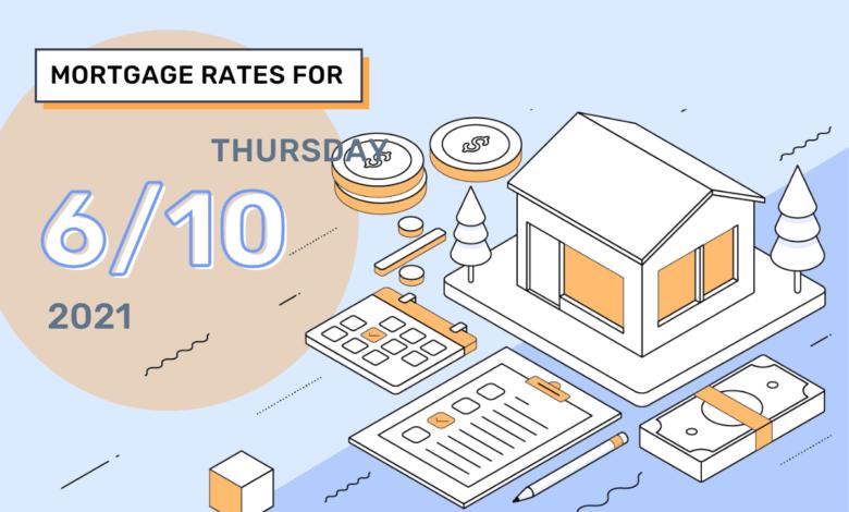 Taux et tendances hypothécaires d'aujourd'hui, 10 juin 2021