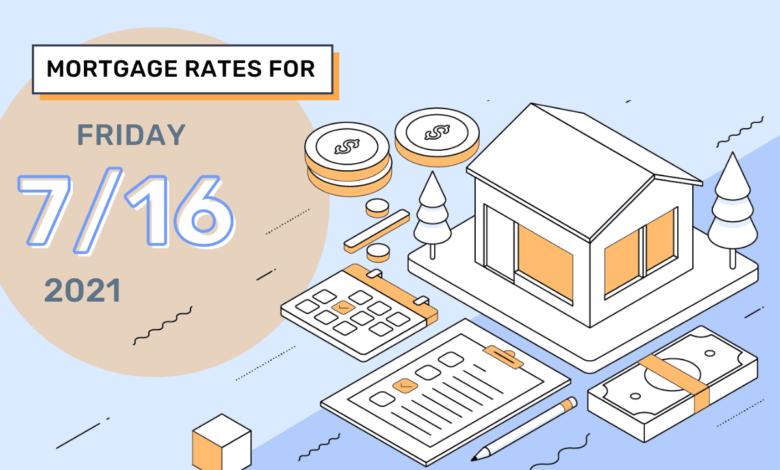 Taux et tendances hypothécaires d'aujourd'hui, 16 juillet 2021