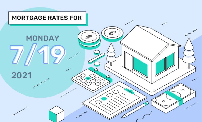 Taux et tendances hypothécaires d'aujourd'hui, 19 juillet 2021